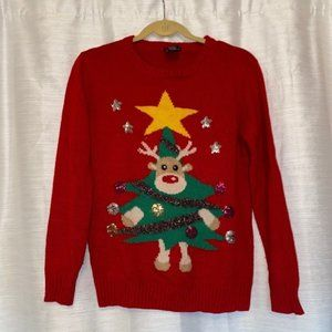 Rue21 small red ugly Christmas sweater